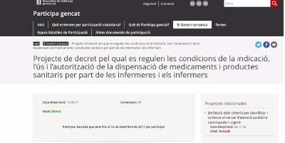 El Govern tanca el procés de consulta pública del projecte de decret de la prescripció infermera amb un 93% de valoracions favorables