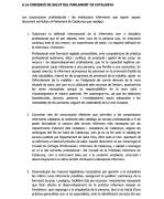 Document lliurat a la Comissió de Salut del Parlament per corporacions i societats infermeres
