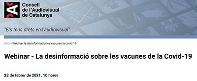 """El Consell d'Infermeres, en el webinar del CAC sobre """"La desinformació sobre les vacunes de la Covid-19"""""""