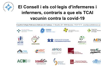 El Consell i els col·legis d'infermeres i infermers, contraris a que els TCAI vacunin contra la covid-19
