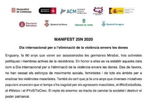El Consell s'adhereix al #Manifest25N2020 per a l'eliminació de la violència envers les dones