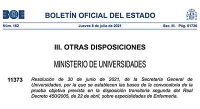 Actualització de les bases de la 'Prova objectiva per a l'accés excepcional al títol d'Infermera Especialista'
